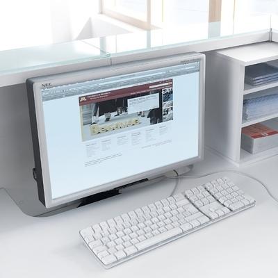Support écran inséré dans plateau