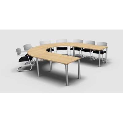 Table MEETING-PRO, 10 personnes, forme elliptique, pieds panneau.