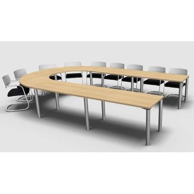 Table MEETING-PRO, 14 personnes, forme elliptique, pieds panneau.