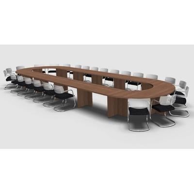 Table ovale MEETING-PRO, 28 personnes, pieds ronds métal