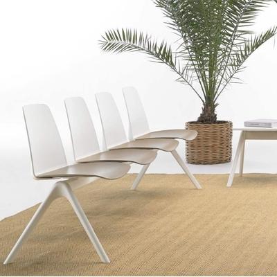 Poutre design LUNIA, assise Vison, dossier Blanc, piètement Blanc