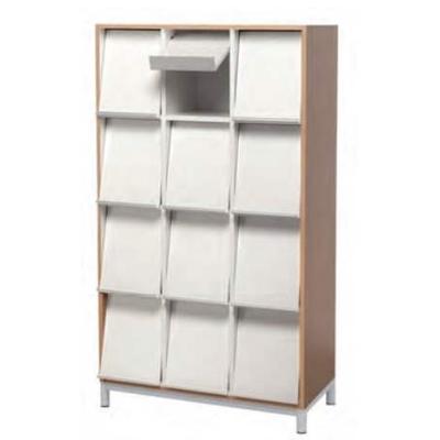 Meuble à revues avec réserve et volet présentoir de revues. 12 cases.