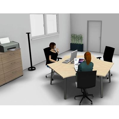 Ilot 3 postes YOGI-A, avec écrans de bureau : travailler ensemble, mais en respectant l'espace de chacun.
