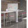 BOX-TV entre 2 tables hautes : d'un côté réunion intercative, de l'autre réunion tableau blanc.