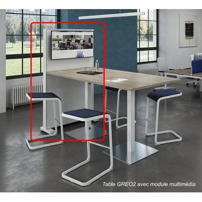 BOX-TV adossé à une table CREO2. Des réunions interactives.
