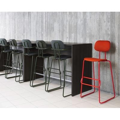 Table haute en profondeur 50 cm, placées contre un mur.