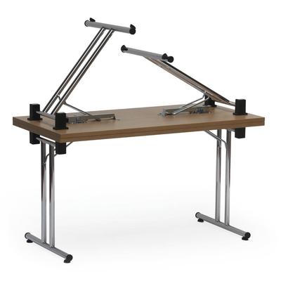 Table pliante DOM, piètement chromé à dégagement latéral, plateau Hêtre