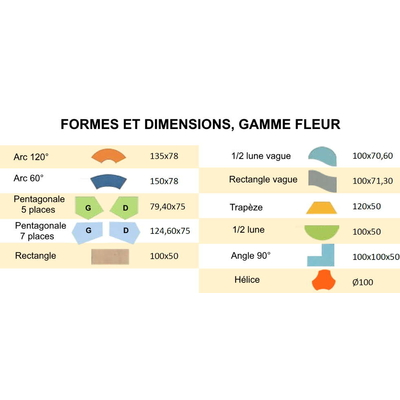 Table Maternelle FLEUR : les différentes formes et dimensions