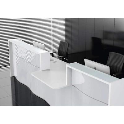 Banque droite VAGUE, PMR central : dimensions. L'emplacement du module PMR se fait lors du montage.