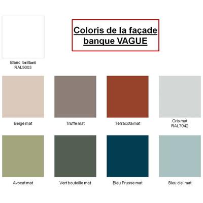 Banque VAGUE en L, PMR à droite, façade coloris Truffe mat